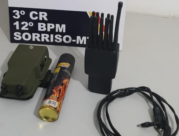 PM apreende bloqueador de sinal que seria usado para furtar caminhão em Sorriso
